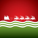 Santa Claus rides in a reindeer sleigh — Stock Vector #56317237