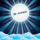 Santa Claus rides in a reindeer sleigh  — Stock Vector
