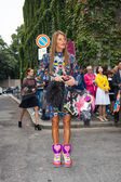 Anna Della Russo - Milan Fashion Week Spring Summer 2015 — Stock Photo