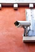 CCTV camera. Security camera on the wall. — Stock Photo