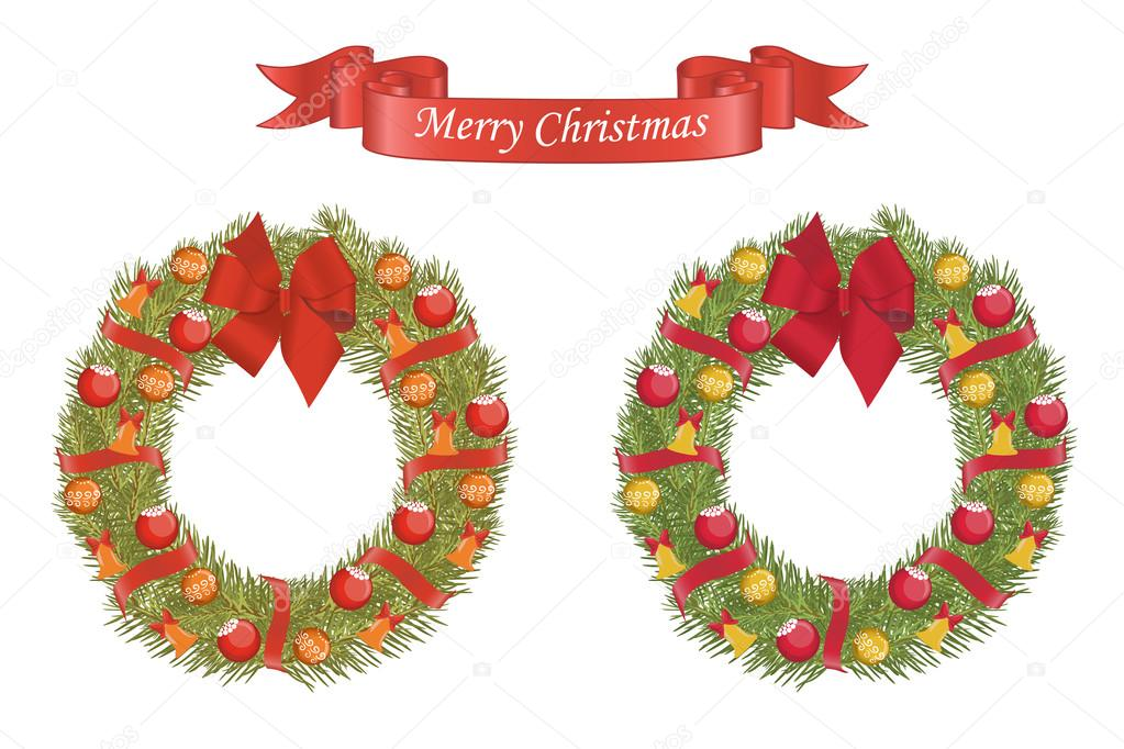 christmas vector cartoon wreath with decorative elements u vector de schwarz