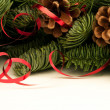Fir-tree twigs with red ribbons and cones — Stockfoto #58941997