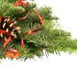 Fir-tree twigs with cones and a red ribbon — Stock fotografie #58942361