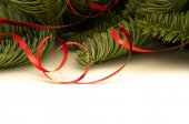 Fir-tree twigs with red ribbons — Stock Photo