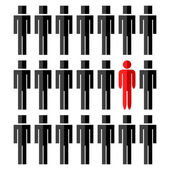 One different man among another people — Stock Vector