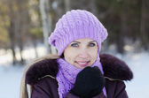 Portrait of the beautiful woman on winter walk — Stock Photo