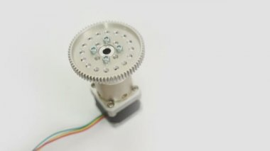 Stepper Motor Geared On End High Angle — Stock Video