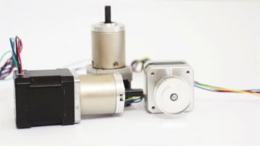 Industrial Three Stepper Motors Dolly — Stock Video