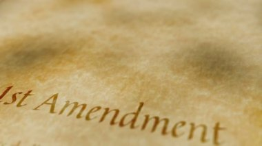 Historic Document 1st Amendment — Stock Video
