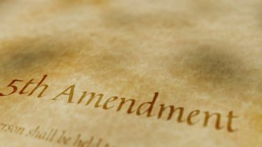 Historic Document 5th Amendment — Stock Video