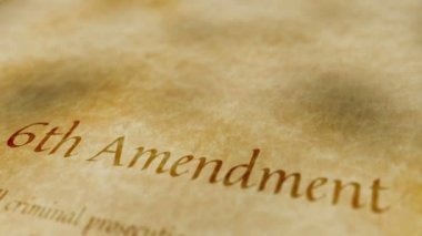 Historic Document 6th Amendment — Stock Video