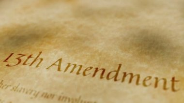 Historic Document 13th Amendment — Stock Video