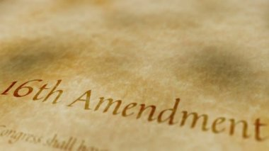 Historic Document 16th Amendment — Stock Video