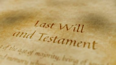 Historic Documents Last Will and Testament — Stockvideo