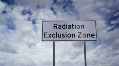 Sign Radiation Exclusion Zone Timelapse — Stock Video