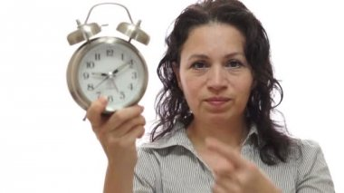 Mad Woman Manager With Time Clock — Stock Video