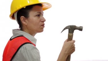 Mad Female Construction Worker With Hammer — Stock Video