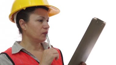 Woman Construction Worker Clipboard Marking — Stock Video