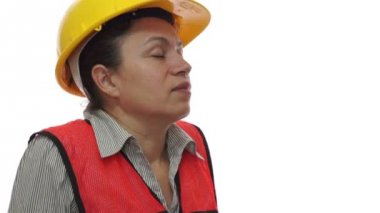 Female Safety Worker Stretching — Stock Video