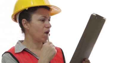 Woman Worker Checking with Clipboard — Stock Video
