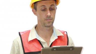Male Tradesman Boss Hand Signal — Stock Video