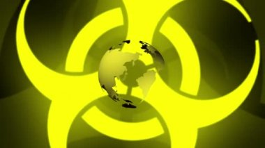 Pulsing Biohazard Symbol With Earth — Stock Video