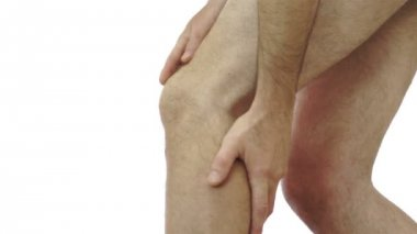 Male Rubs His Knee Joint Pain — Stock Video