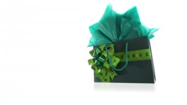 Green Gift Bag Dolly — Stockvideo