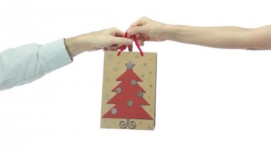 Giving A Present Bag Decorated With Xmas Tree — Stock Video