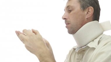Male In Neck Support Brace Taking Pills — 图库视频影像