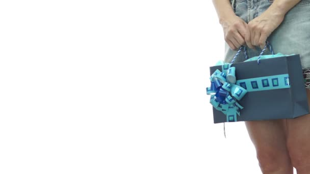 Girl Skirt Gift Bag Blue Copyspace — Vídeo de stock