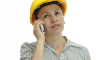 Woman Hardhat Phone Uninterested and Bored — Stock Video