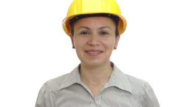 Woman in Hardhat Thumb Up Isolated — Stok video