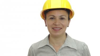 Woman in Hardhat Sticks Out Tongue — Stock video