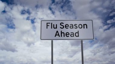 Flu Season Ahead Sign Clouds Timelapse — Video Stock