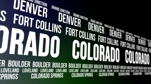 Colorado State and Major Cities Scrolling Banner — Vídeo de stock