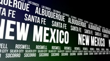 New Mexico State and Major Cities Scrolling Banner — Stock Video