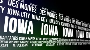 Iowa State and Major Cities Scrolling Banner — Stock Video