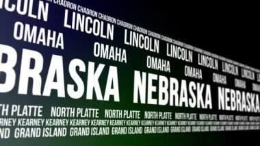 Nebraska State and Major Cities Scrolling Banner — Stock Video