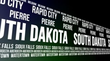 South Dakota State and Major Cities Scrolling Banner — Stock Video