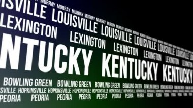 Kentucky State and Major Cities Scrolling Banner — 图库视频影像