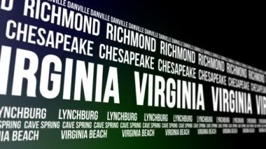 Virginia State and Major Cities Scrolling Banner — Stock Video