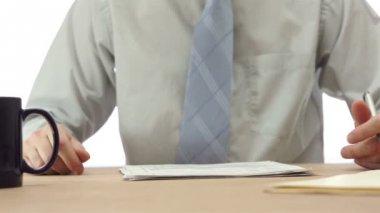 Male Office Worker Spills Coffee — Stock Video