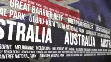 Australia Flag Tourism Attractions Banner — Stock Video