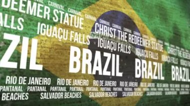 Brazil Flag Tourism Attractions Scrolling Banner — Stock Video