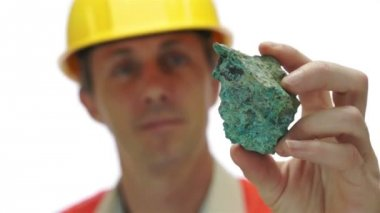 Miner Inspects Copper Carbonate Ore — Stock Video