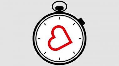 Stopwatch Heart Symbol Pulsing — Stock Video