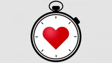 Stopwatch With Pulsing Heart — Vidéo
