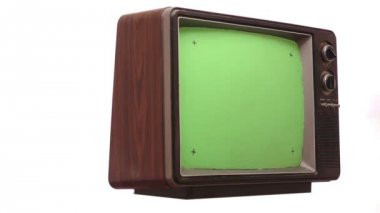 Retro TV Greenscreen Turning Slow — Wideo stockowe
