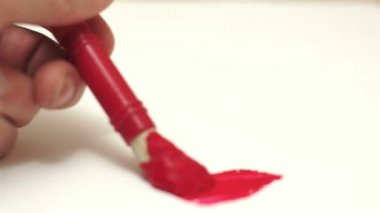 Painting Red Art Brush Fading Line — Stock Video